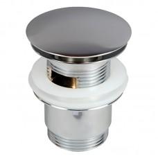 Донний клапан Prevex сифона для умивальника з переливом, клік-клак з великою заглушкою, метал